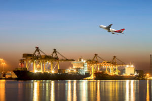 Image showing airplane and ships exporting goods