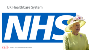 NHS logo and picture of the Queen
